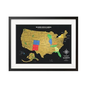 Black and Gold Scratch off USA Map with National Parks - Travel Tracker Map®