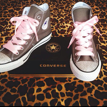 Hi-Top Rhinestone Converse with Ribbon Laces