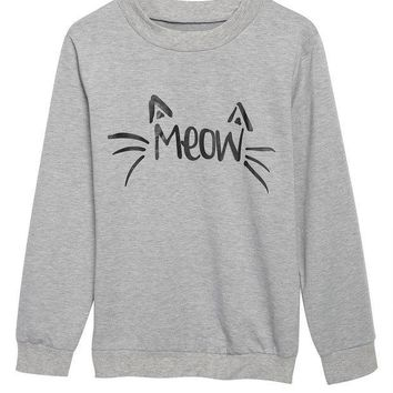 gray meow print sweater for women  number 1
