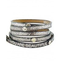 YOU ARE BEAUTIFUL METALLIC WITH CRYSTALS Wrap Around Bracelet - Bracelets - Shop