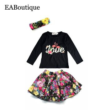EABoutique winter fashion floral flamingo pattern baby girls clothes set long sleeve shirt with floral skirt headband