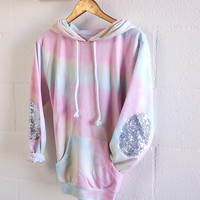 Tie Dye Hoodie with Sequin Elbow Patches Sweatshirt Jumper  Sparkly Elbow Patch Womens Spring Fashion Elbow Patch Sweater