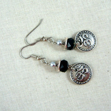 Silver Ohm Earrings - Black and Silver Earrings - Antiqued Silver Om with Jet Black Opaque Picasso Bead - Casual Earrings for Everyday