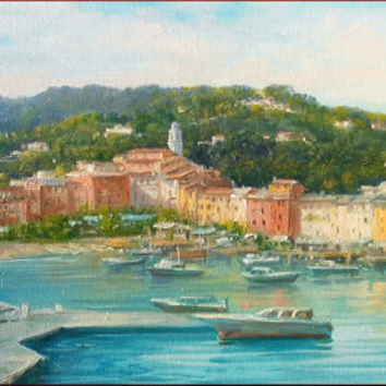 Italian painting Portofino seascape Ligurian Coast Italy original painting of Antonietta Varallo Italia