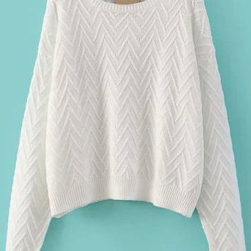 White V Pattern Long Sleeve Cropped Sweater