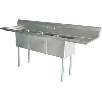 "Stainless Steel 3 Compartment Sink 90"" x 27"" with 2 18"" Drainboards"