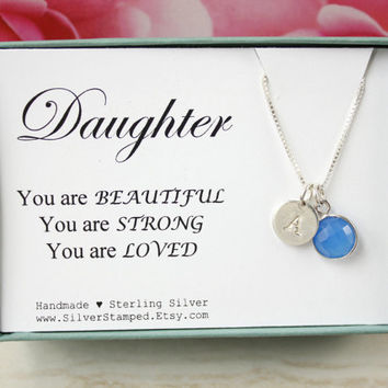 Gift for daughter sterling silver blue chalcedony necklace with genuine gemstone and stamped tiny letter initial, monogram necklace gift box