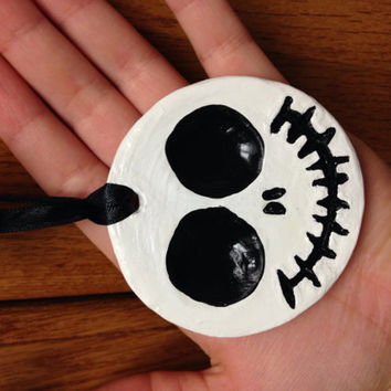 Jack Skellington inspired painted ceramic ornament - Christmas ornament - holiday decor - ceramic ornament - hand painted ornament - gift