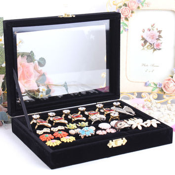 Small ring jewelry box glass cover ring storage box stud earring box wheel stud earring jewelry holder accessories display rack