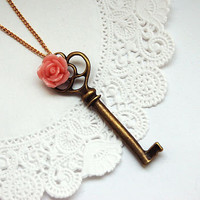 rose key necklace by maria allen jewellery | notonthehighstreet.com