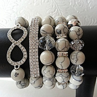Chunky Bead 5 piece infinity Arm Candy Set