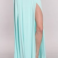 Mint Double Slit Maxi Skirt