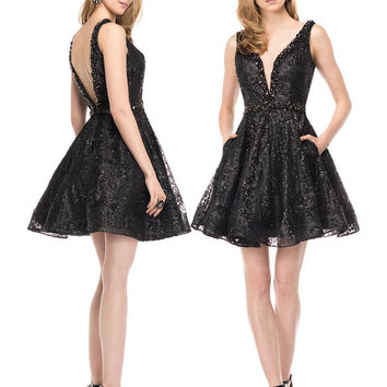 COLORS 1517 Black Sequin Homecoming Skater Cocktail Dress