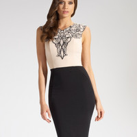 Black and White Crochet Patch Pencil Dress