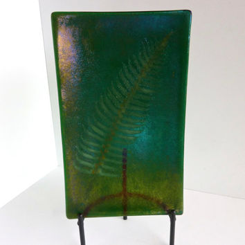 Irridescent Green Fossil Vitra Fern Fused Glass Platter