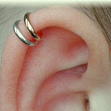 PIERCED - Double Wrap Cartilage Ear Cuff - Mixed Metal - Sterling Silver or14K Gold Filled - SINGLE Side