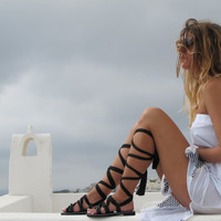 "Lace up sandals Customizable Choose scarf laces from 18 colors and leather footbed from 6 colors  ""ATHENA"" ATHS01"