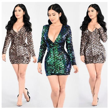 New women fashion elegant 2016 full sleeve mini dress v-neck sexy bodycon dress novelty bandage dress QJ5070