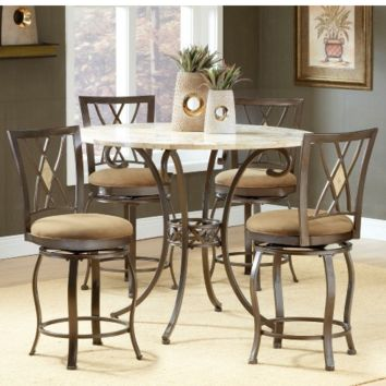 5-Piece Counter Height Dining Table Set with Back Stools