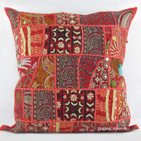 "20"" Red Vintage Multicolor Patchwork Throw Cushion Pillow Case Sham"