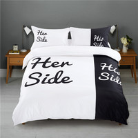 Her Side His Side Couple's Bedding Sets 4 pcs/3pcs Duvet Cover Bed Sheet Pillow Cases Size EU/CN/US Queen King White & Black
