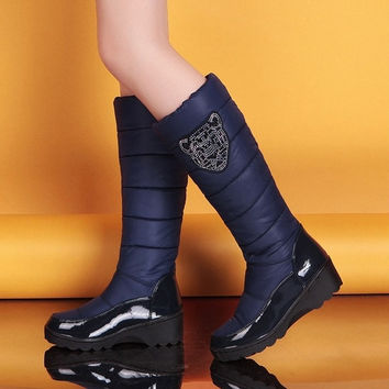 Warm Rhinestone Down Snow Boots Women Knee High Boots 2752