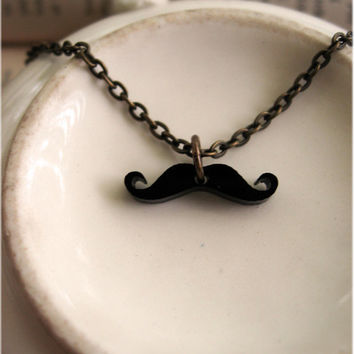 The Tiniest Mustache Necklace Ever by sodalex on Etsy