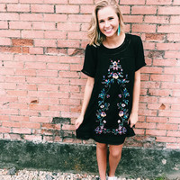 A Touch of Floral Dress - Black