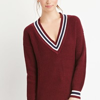 Varsity-Striped Waffle Knit Sweater