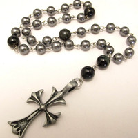 Anglican Prayer Beads with Grey Pearls, Blue Tiger Eye and Pewter Cross