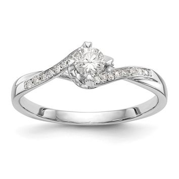 14k White Gold Twist Band Round Diamond Promise Semi-Mount Ring