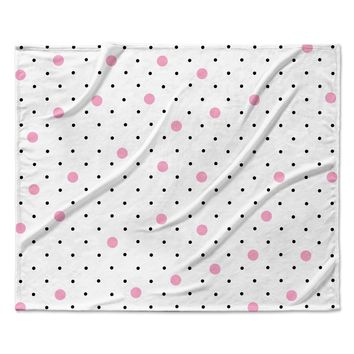 "Project M ""Pin Points Polka Dot Pink"" Pink Black Fleece Throw Blanket"