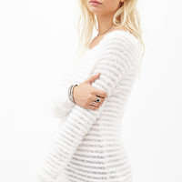 Eyelash Knit Ribbed Sweater