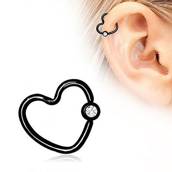 Heart Shaped Cartilage Black PVD Plated Earring 316L Surgical Steel 16GA (16g 8mm)