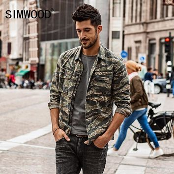 Trendy SIMWOOD Autumn Autumn  New Camouflage jackets men military pocket army tactical denim slim fit plus size high quality NK017012 AT_94_13