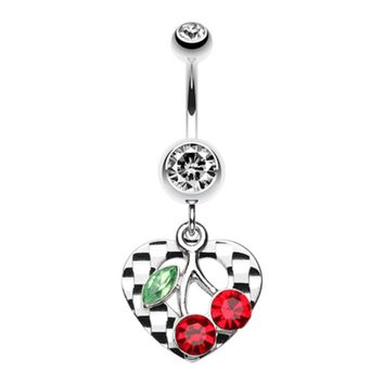 Charming Cherry Heart Belly Button Ring