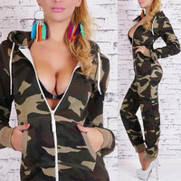Fashion Camouflage Long sleeve Jumpsuit