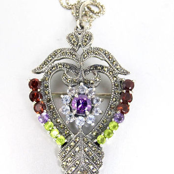 Vintage Gemstone Marcasite Pendant Brooch. Huge Sterling Silver Multi Color Gemstone Marcasite Slide Enhancer Necklace. 3""