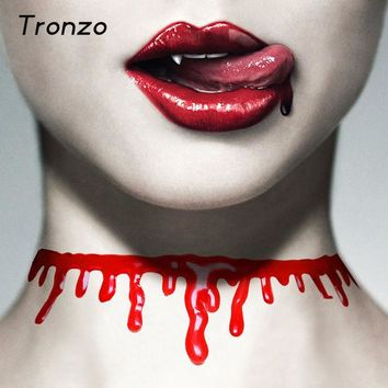 DKF4S Tronzo New Halloween Bloody Neck Scary Horror Blood Chain Necklace Halloween Decoration Make Up Party Supplies April Fools' Day