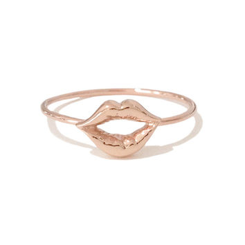Solid 14K Gold Lip Pout Kiss Ring (Pinky, Midi, Stackable, Stacking, Statement Ring) {available in Yellow, White or Rose Gold}