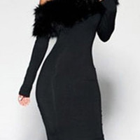 Black Sloping Shoulder Long Sleeve Midi Dress