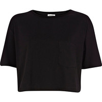 River Island Womens Black patch pocket cropped t-shirt