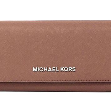 Michael Kors Jet Set Saffiano Leather Carryall Wallet (Dusty Rose)