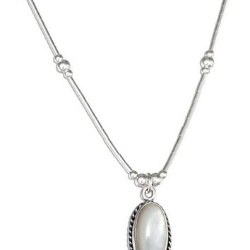 "Sterling Silver 16"" Liquid Silver Oval Mother Of Pearl Necklace"