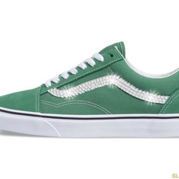 Women's Vans Old Skool + Crystals - Deep Grass Green/Off White