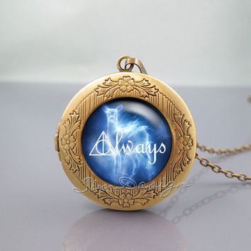 Harry Potter Always Photo Locket Necklace,Harry Potter Deer Always,vintage pendant Locket Necklace