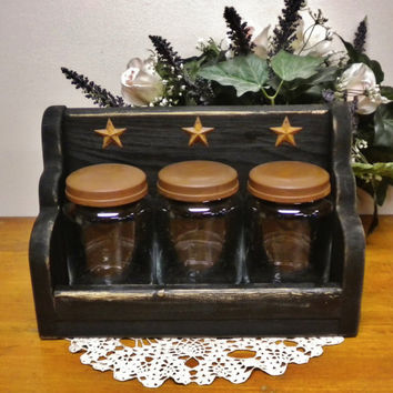 Apothecary Jar Sets, Primitive Jar Keep, Glass Jar Caddy, Country Home Decor