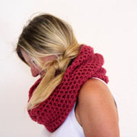 Infinity cowl neckwarmer autumn fashion in ruby, the Calypso Cowl, under 50