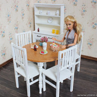 1/6 scale Round Table and 4 Chairs Dining Set for dolls (Blythe, Barbie, BJD, Momoko). Shabby Chic style