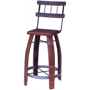 "28"" Wood Stave Stool w/ Back (Made from Wine Barrels)"